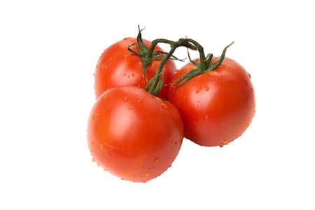 tomates: tres tomate rojo, aislados en blanco