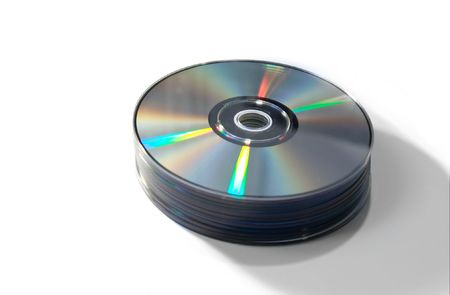 A pile of compact discs isolated photo