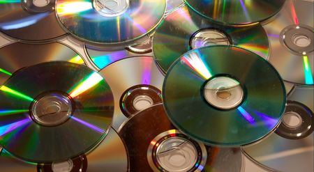recordable: A pile of dirty recordable CDs
