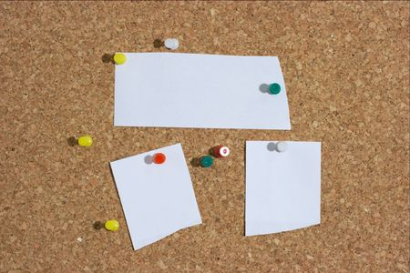 Three pieces of paper and pushpins on a board. Add your own text! Stock Photo - 616471