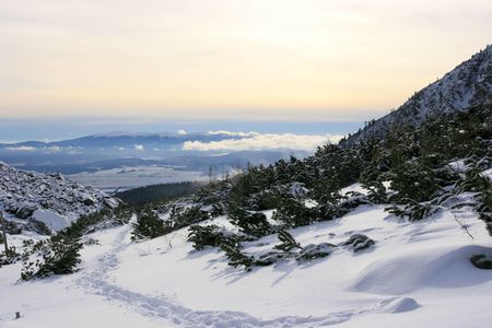 High tatra in the fresh winter snow photo