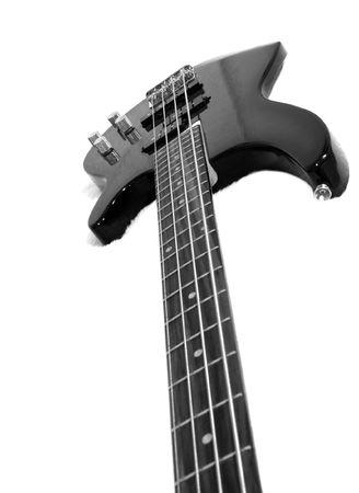Black bass guitar on white fluffy drapery Stock Photo - 750037