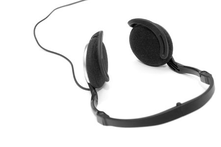 Headphones with wire isolated on white background photo