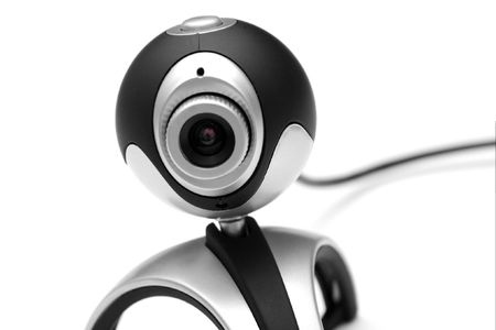 closeup of a webcam isolated on white photo