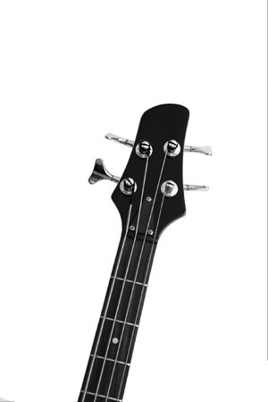 Head and neck of a bass guitar isolated on white photo