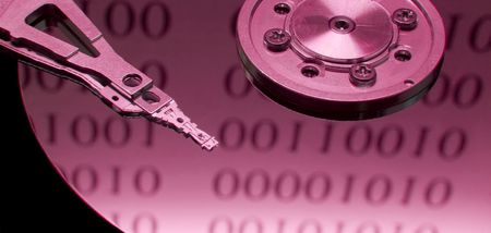 Open hard disk with binary code reflection photo