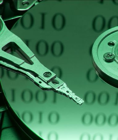 Internals of on open harddisk ith binary code reflection photo