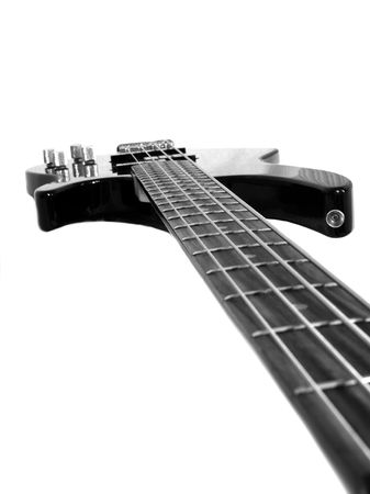 Black 4-string bass guitar isolated on white Stock Photo - 794746