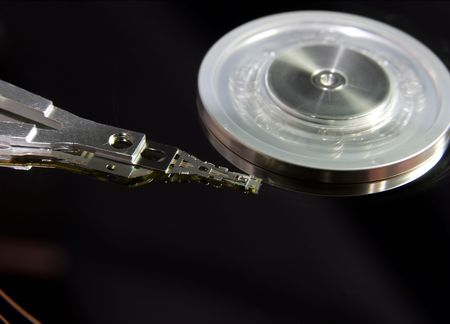 internals: Closeup of the internals of a harddrive Stock Photo