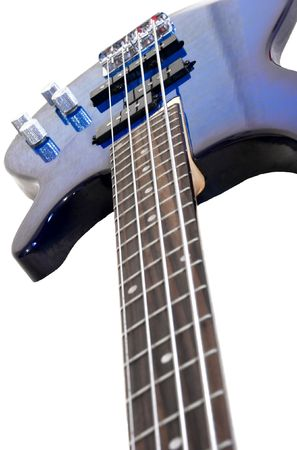 Blue electric bass isolated on white background photo
