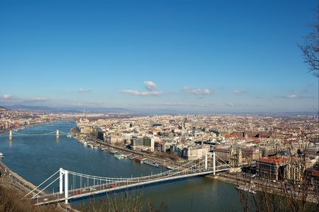 the danube: View of Budapest with the Danube and bridges Stock Photo