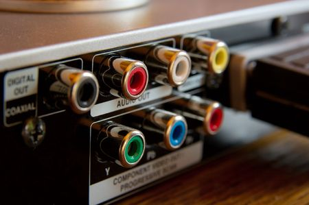 RCA connections on the back of a DVD player Stock Photo