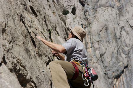 paklenica: Rock climber climbing in Paklenica National Park