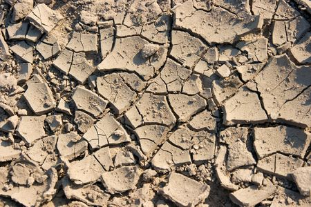 Closeup of dried out, broken soil photo