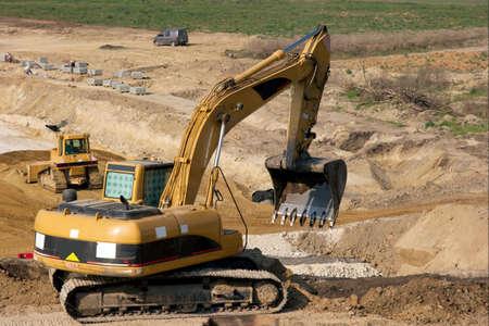 Excavators at a road construction site