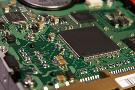 internals: Printed Circuit Board with many electrical components