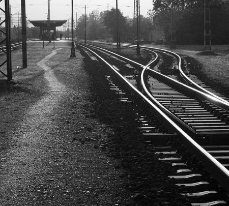 Old railway station in black and white