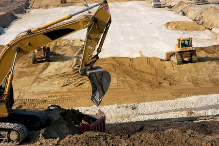 Excavator working at a road construction site Stock Photo - 954466