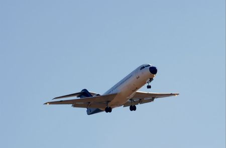 Commercial aircraft against blue sky Stock Photo - 954470