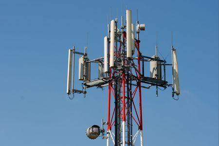 electromagnetic radiation: GSM transmitter tower against lue sky