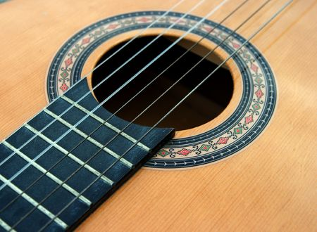 Part of the body of an acoustic guitar photo