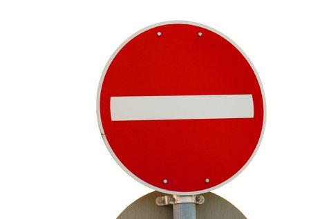 No entry traffic sign isolated on white photo