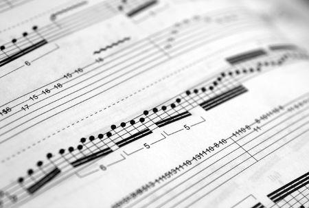 sheetmusic: Closeup of a piece of music score (shallow DOF) Stock Photo