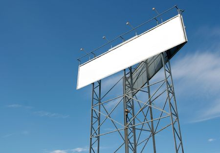 ad: Empty billboard against blue sky. Add your own text! Stock Photo