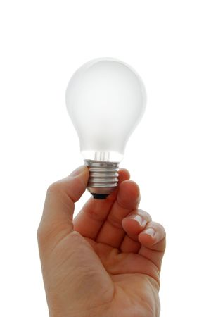 Lightbulb in a hand isolated on white background Stock Photo - 1778862