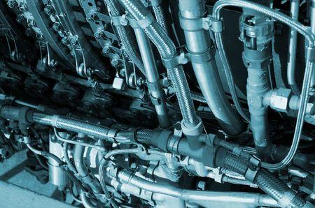 jetplane: Primo piano delle parti di un motore dellaeroplano