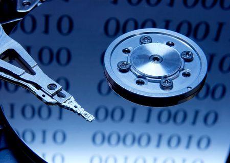 Internes d'un disque dur avec des r�flexions binaires Banque d'images