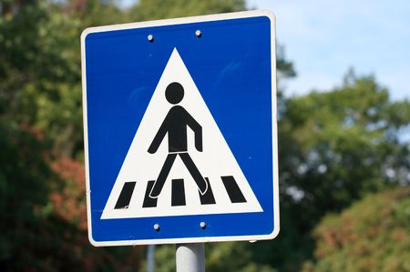 Pedestrian crossing warning traffic sign photo