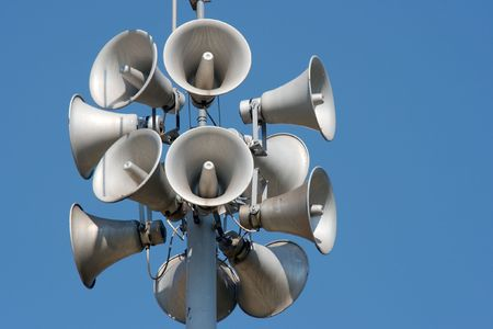 Lots of white loudspeakers on a column Stock Photo - 1826839