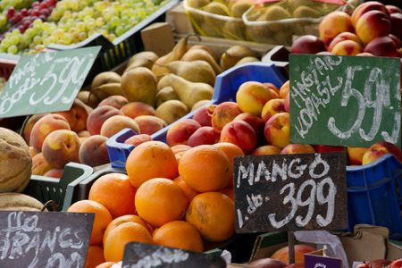 Piles of various fruits at a marketplace Stock Photo - 1884263
