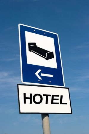 accommodation: Roadsign informing about accommodation