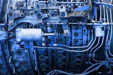 jetplane: Closeup delle parti di un motore jetplane in tinta blu