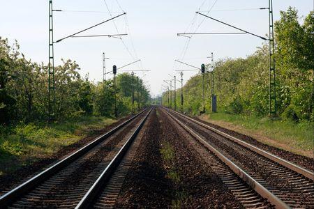 straight path: Two pairs of straight railway tracks