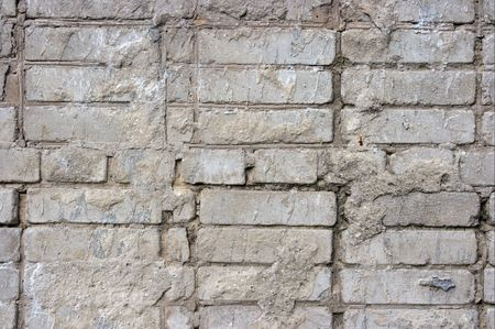 Gray brick wall texture in bad condition photo