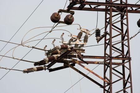 Closeup of an old rusty electric pillar photo