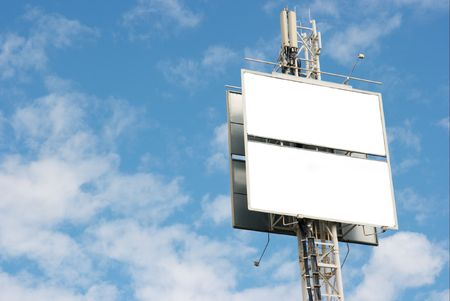 Empty billboard against blue sky, add your own text Stock Photo - 2133369