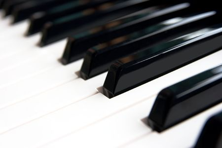Closeup of the keys of a piano Stock Photo