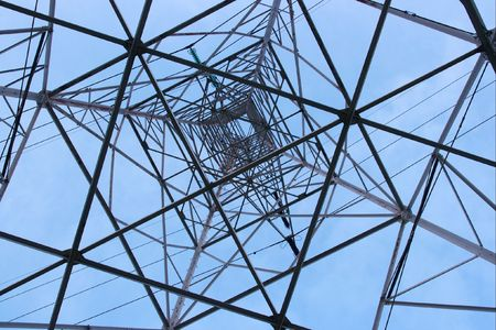 Steel structure of a high voltae electric pillar Stock Photo - 2133407
