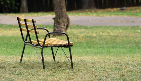 Wooden bench in a park near the footpath Stock Photo - 2330078