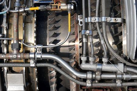 jetplane: Parte di un motore di jetplane con i lotti di componenti