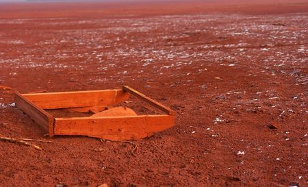 residue: Red mud - toxic residue of aluminum production polluting the soil on huge area Stock Photo