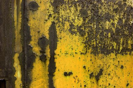 Old rusty metal plate with paintwork falling apart Stock Photo - 2404180