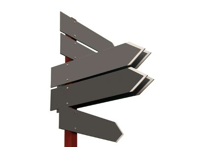 Signpost showing different directions with empty boards. Add your own text Stock Photo - 2404092