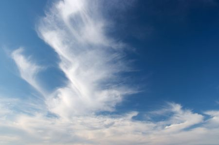 cloude: White cloud formations on blue sky Stock Photo