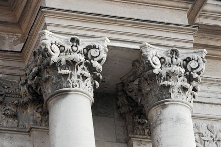 judicial: Decorated columns of an old stone building Stock Photo