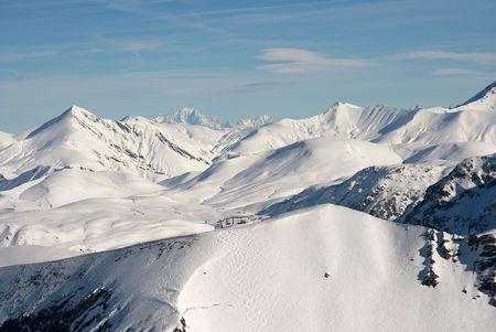 High snowy mountains in the french alps Stock Photo - 2677981